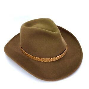 fcee785095c Flex Felt 100% Wool WORN Outback Cowboy Hat MADE IN USA Brown Wide ...