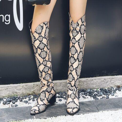 muslo mujer del altas del encima Botas bloque Nuevo rodilla Zapatos Tirar por gruesos de tacones tamaño de para la el sobre q0nBSw6Sx