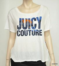 Nwt $68 Juicy Couture Sunset Short Sleeve T-Shirt Tee Top Tunic ~White *M
