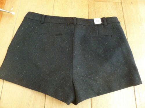 GAP THICK BLACK WOOL RICH FLECKED LINED SHORTS 14 16 18 BNWT