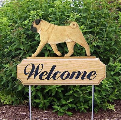 Pug Dog Breed Oak Wood Welcome Outdoor Yard Sign Fawn