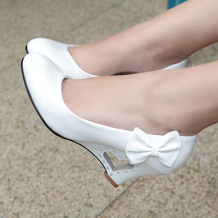 Chic Womens Patent Leather Round Toe Bowtie Wedge Pumps Sandals Shoes Plus Size