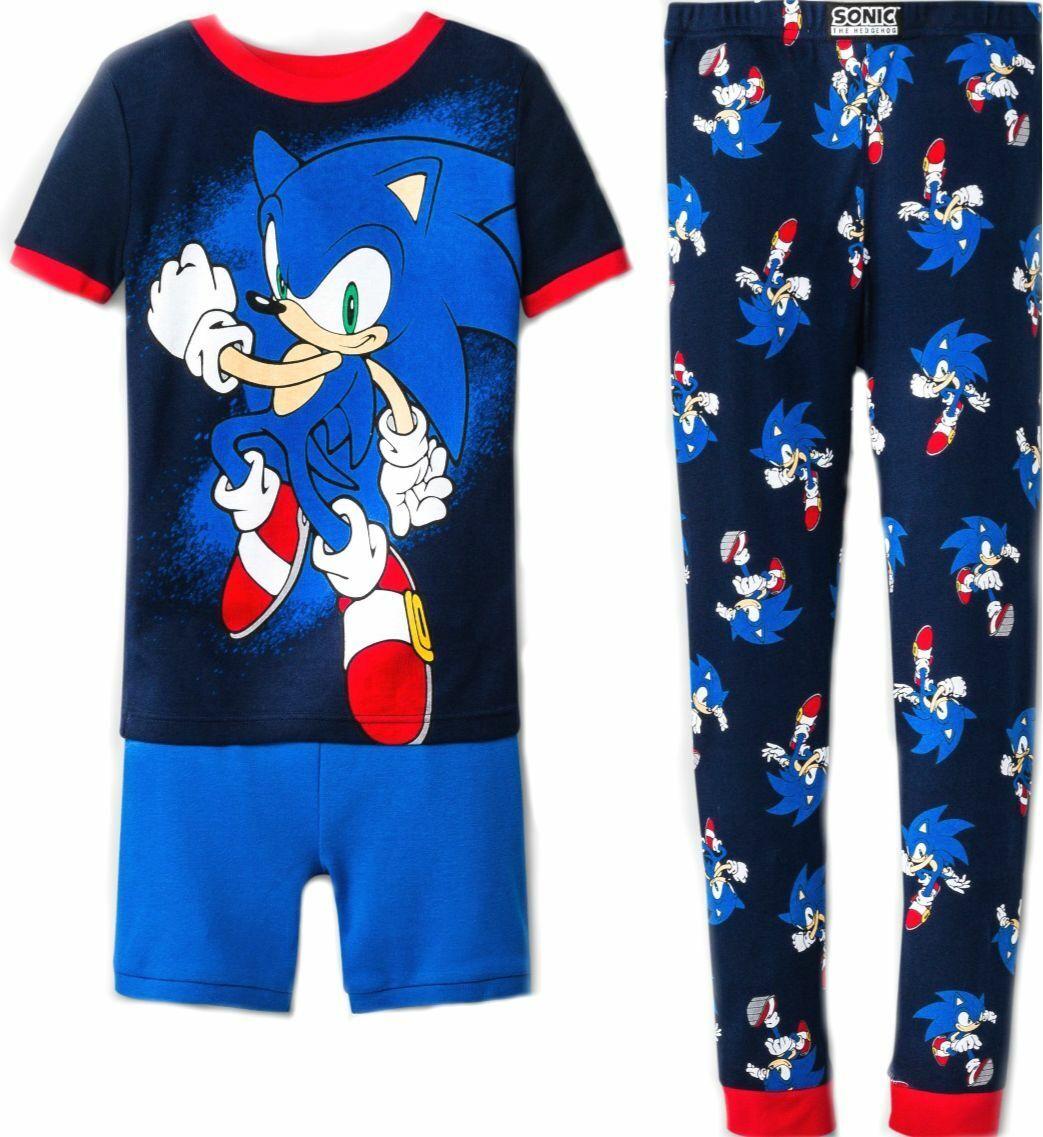Sonic The Hedgehog LONG Cotton PJ Boys Pajamas Set Size 4//5 Sega Video Game NEW