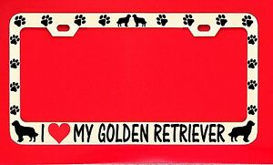 I Love My Golden Retriever License Plate Frame Tag Dog Paw Weatherproof Vinyl