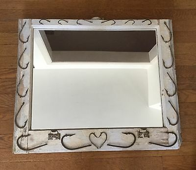 Upcycled Window Mirror-Nautical Fish Hooks                        *2361
