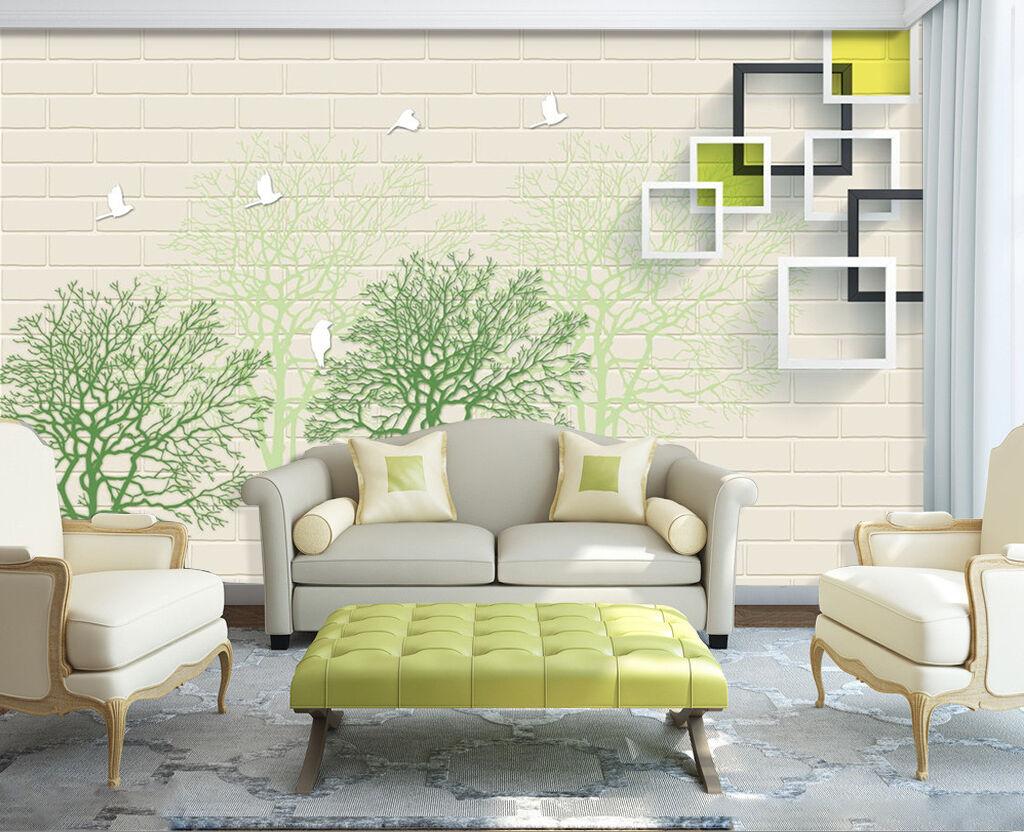 3D Blaue Bäume, Vögel 253 Fototapeten Wandbild Bild Tapete Familie Kinder