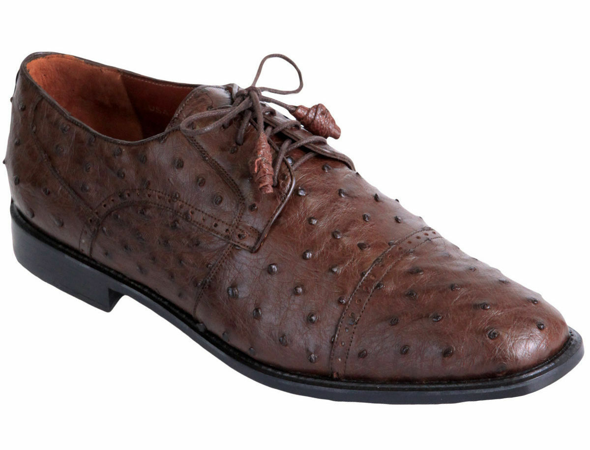 LOS ALTOS GENUINE BROWN OSTRICH OXFORDS DRESS SHOE EE Scarpe classiche da uomo