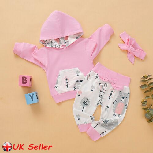 UK Newborn Kids Baby Girls Winter Clothes Hooded Tops T-Shirt Pants Outfits Set