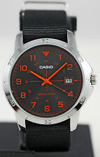 Casio MTP-V008B-1B Mens Analog Gold Tone Watch Black Fabric Band Date Stamp New