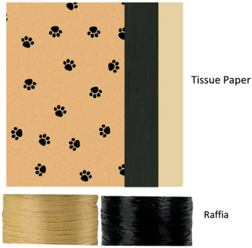 Dog Cat Paws 3 Gift Bags Assorted Sizes Tissue Paper Tags and Raffia Ribbon Set