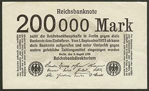 GERMANY-200-000-mark-1923-P-100-Europe-banknote-Edelweiss-Coins