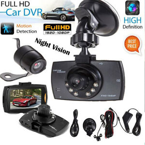 "1080P 2.7"" HD 140º Dual Lens Car Dash Camera Video DVR Cam Recorder Night Vision"
