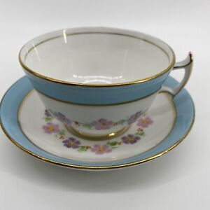 Pheonix Bone China Tea Cup And Saucer Handpainted Blue Gold Pink Purple Flowers