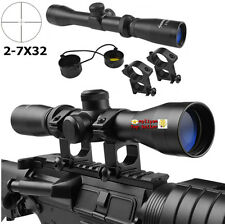 Long Eye Relief 2-7x32 Optics Pistol Rifle Scope W/ High Mount&caps For Hunting
