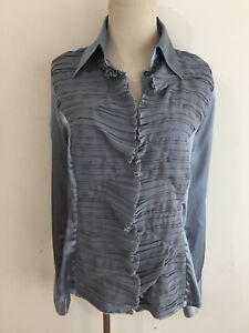 outlet store c32f2 46426 Details about NARA CAMICIE Made in Italy Button-Front Tuxedo-Style Shirt  Blue-Gray Size V