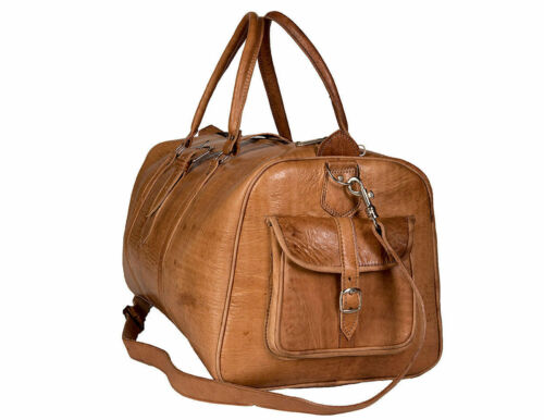 Large Brown Leather Goathide Carry-On Duffle Weekend Luggage Travel Bag USA Nice