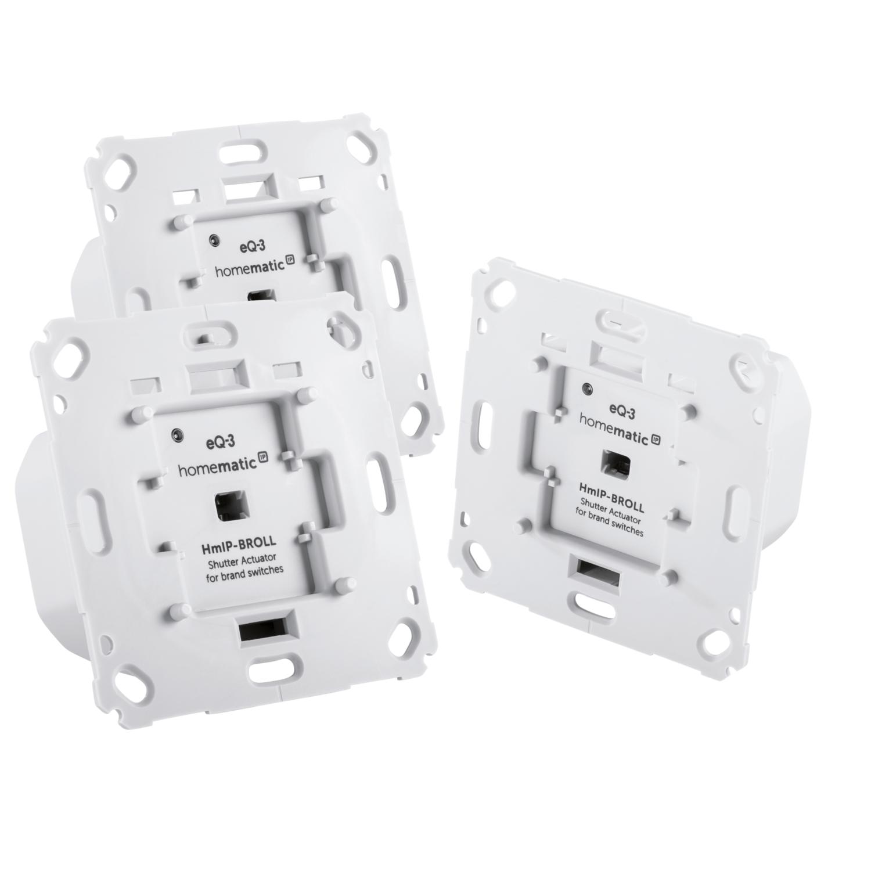 Homematic IP 3er Set Rollladenaktor für Markenschalter - Unterputz HmIP-BROLL