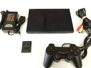 Sony-PlayStation-2-PS2-Slim-Console-System-Black-VG-Tested-Fast-Free-Shipping