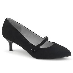 Black Suede Low Kitten Heels Vintage