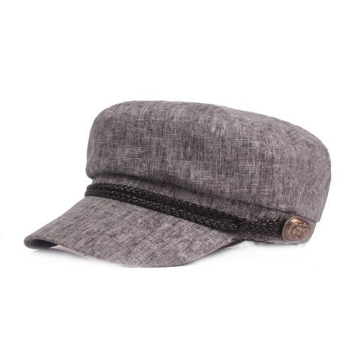 Mens Cotton Linen Gatsby Cap Sailor Driving Flat Cabbie Beret Newsboy Ivy Hat