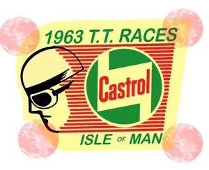 Respectueux Isle Of Man Tt Races Castrol Pilote Stickers Moto -auto Autocollant Sticker