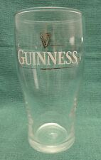 Guinness Imperial Pint Beer Glass White Letters Parallel Gold Lines Gold Harp