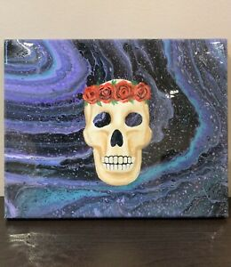 Original Acrylic Resin Fluid Art Hand Painted Skull 8X10 Abstract Art On Canvas