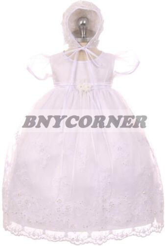 Bébé Filles Blanc Baptême Baptême dévouement Mariage Fleur Fille Robe NOUVEAU