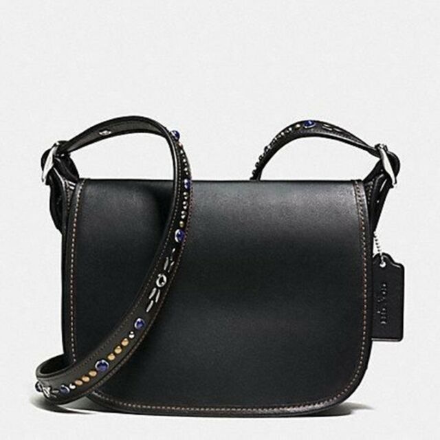 Coach Studded Strap Patricia Leather Crossbody Bag Purse Black 59380 New Nwt
