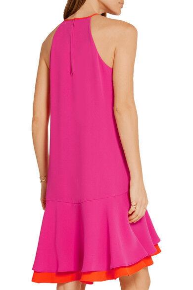 Diane Von Furstenberg Kera Kera Kera Combo Vivid Pink -orange Dress Dvf 6- S 82c049