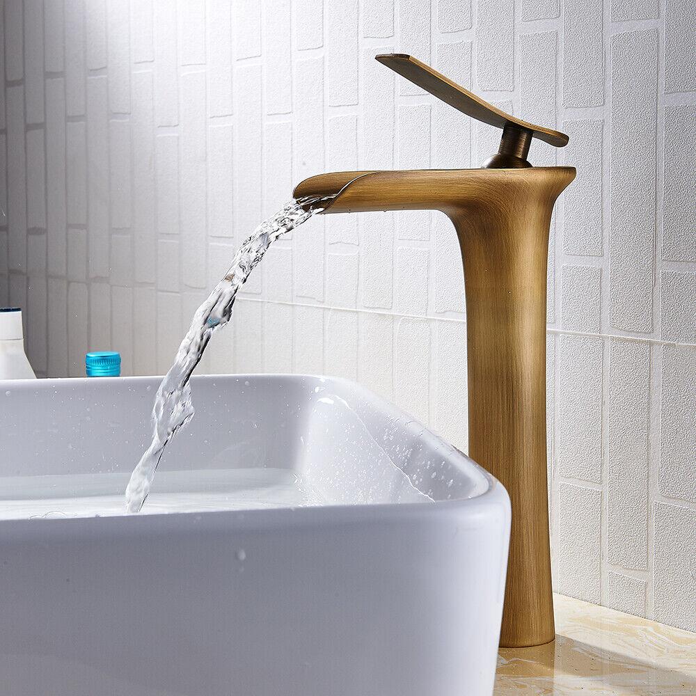 Retro Hoch Wasserfall Waschtischarmatur Wasserhahn Einhebelmischer Badarmatur