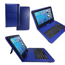 Samsung Galaxy Tab 4 / 10.1 Tablet Pc Tasche Hülle Case - 10 Zoll Tastatur Blau