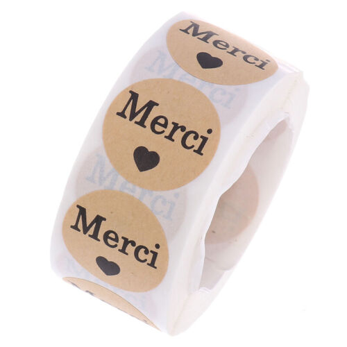 """500pcs//roll Stickers French""""Merci""""seal labels scrapbooking for Package stic jb"""