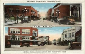 Laurel-MS-Oak-St-amp-Central-Ave-c1920-Postcard