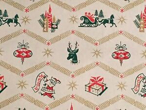 VTG-CHRISTMAS-WRAPPING-PAPER-GIFT-WRAP-1950-REINDEER-SLEIGH-CANDLE-ORNAMENT-NOS