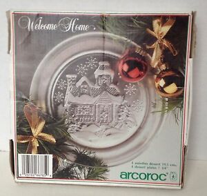 Arcoroc-Plates-Christmas-Dessert-Set-of-4-Welcome-Home-Made-in-France