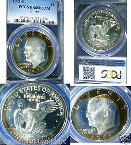 1971-S Eisenhower Silver Dollar PCGS PR 68 DCAM Rainbow Color Toned