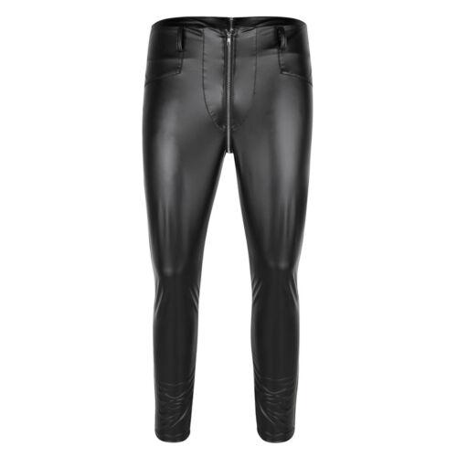 New Men Faux Leather Pants Biker Motorcycle Tight Pencil Pants Trousers No Belt