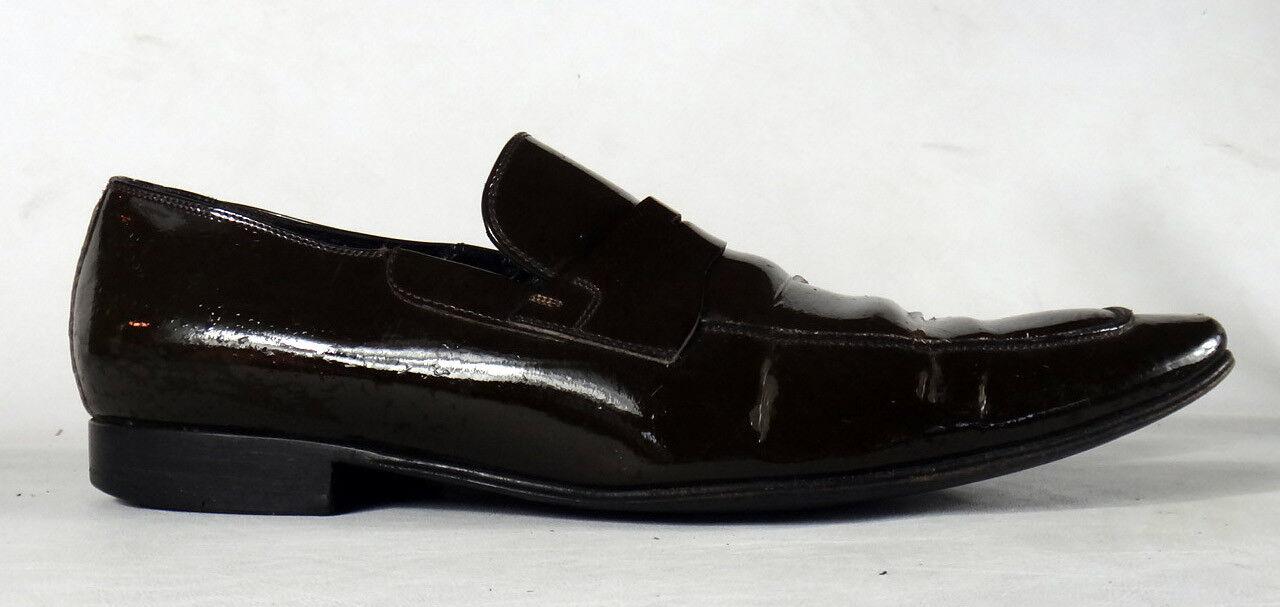Christian patent DIOR Braun 45 Leder patent Christian penny loafers pointy 11 tuxedo shoe vtg 48af94