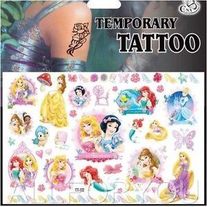 68f44f3df NEW 1 x Princess Temporary Tattoo Sheet Kids Children Birthday Party ...