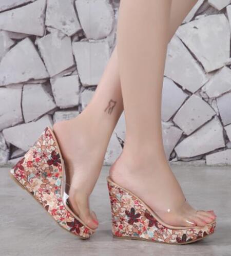 Womens Retro Floral High Wedge Platform Slippers Transparent Open Toe Sandals C8