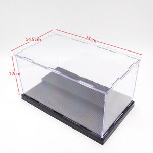 Details about Acrylic Display Box Case Plastic Black Base For Loz Nano  Block Dustproof 2 Steps