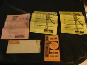 Lug All Winch Hoist Envelope Parts Price List Bulletin