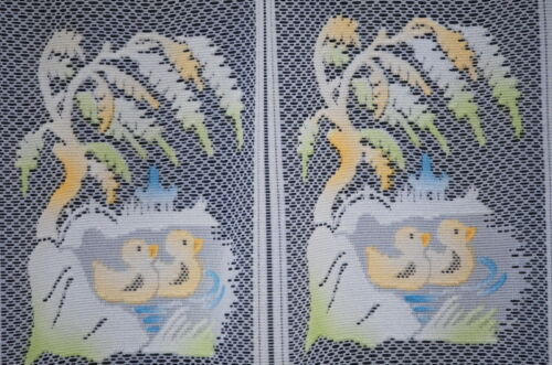 DUCKLINGS WHITE CAFE NET YELLOW//GREEN COLOURED MOTIFS BY THE METRE BATHROOM