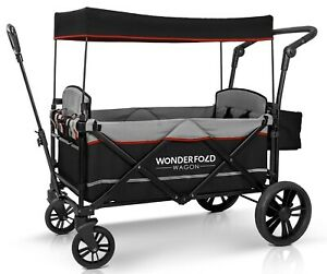 Wonderfold-Wagon-X2-Push-Pull-2-Passenger-Folding-Stroller-Black-NEW