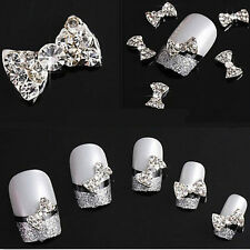 20pcs New Crystal Rhinestone 3D Nail Art Bowknot Tie Bow Stickers Slice Manicure
