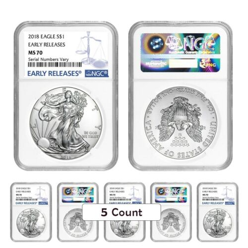 Lot of 5-2018 1 oz Silver American Eagle $1 Coin NGC MS 70 Early Releases