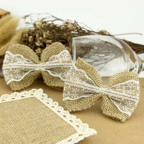 Natural Jute Burlap Ribbon Linen Bow Lace Trim Rustic Wedding Decoration