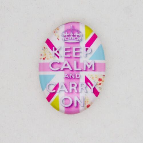 Rosa Keep Calm /& Carry sobre diseño de 18 mm x 25 mm de vidrio Cabuchones