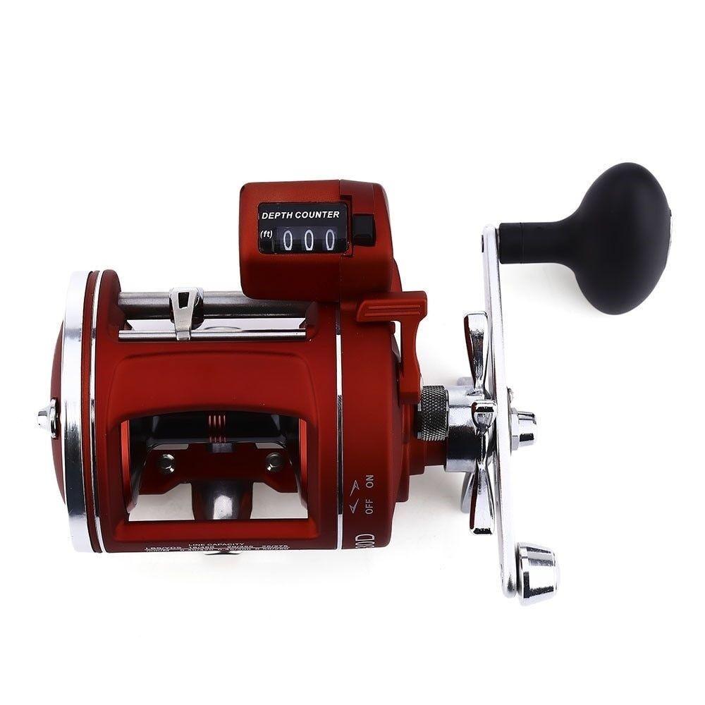 12 Bearing Fishing Reel Trolling Cast Drum Wheel Electric Depth Count Multiplier